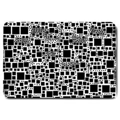 Block On Block, B&w Large Doormat  by MoreColorsinLife