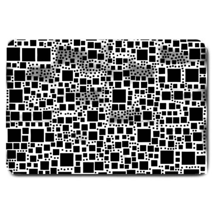 Block On Block, B&w Large Doormat