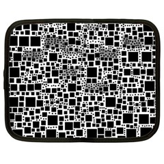 Block On Block, B&w Netbook Case (large) by MoreColorsinLife