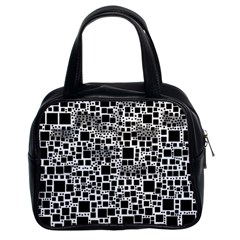 Block On Block, B&w Classic Handbags (2 Sides) by MoreColorsinLife