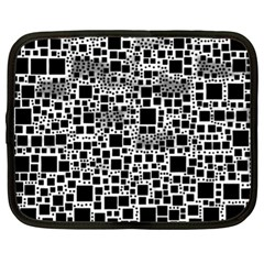 Block On Block, B&w Netbook Case (xl)  by MoreColorsinLife
