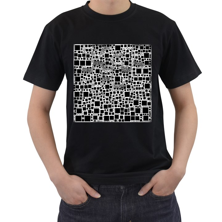 Block On Block, B&w Men s T-Shirt (Black)