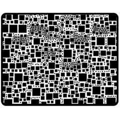 Block On Block, B&w Fleece Blanket (medium)  by MoreColorsinLife