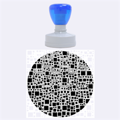 Block On Block, B&w Rubber Round Stamps (large)