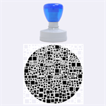 Block On Block, B&w Rubber Round Stamps (Large) 1.875 x1.875  Stamp