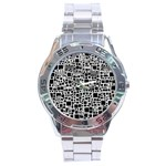 Block On Block, B&w Stainless Steel Analogue Watch Front