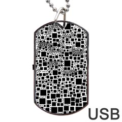 Block On Block, B&w Dog Tag Usb Flash (one Side)