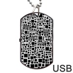 Block On Block, B&w Dog Tag USB Flash (One Side) Front