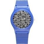 Block On Block, B&w Round Plastic Sport Watch (S)