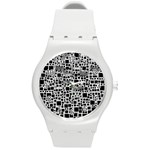 Block On Block, B&w Round Plastic Sport Watch (M) Front