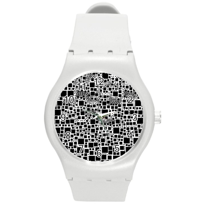 Block On Block, B&w Round Plastic Sport Watch (M)