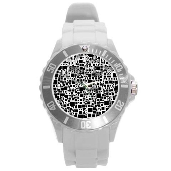 Block On Block, B&w Round Plastic Sport Watch (L)
