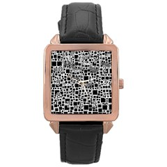 Block On Block, B&w Rose Gold Leather Watch  by MoreColorsinLife