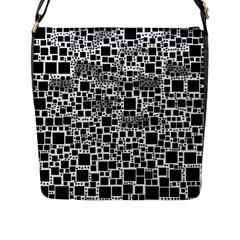 Block On Block, B&w Flap Messenger Bag (l)