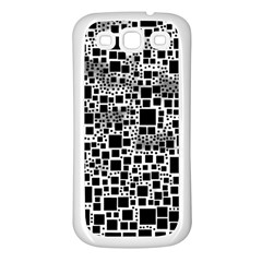Block On Block, B&w Samsung Galaxy S3 Back Case (white) by MoreColorsinLife