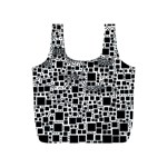 Block On Block, B&w Full Print Recycle Bags (S)  Front