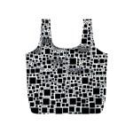 Block On Block, B&w Full Print Recycle Bags (S)  Back