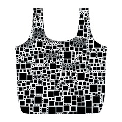 Block On Block, B&w Full Print Recycle Bags (l)