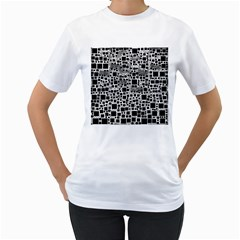 Block On Block, B&w Women s T Shirt (white)  by MoreColorsinLife