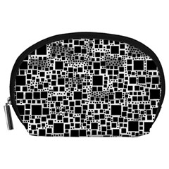Block On Block, B&w Accessory Pouches (large)  by MoreColorsinLife