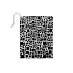 Block On Block, B&w Drawstring Pouches (Small)  Back