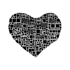 Block On Block, B&w Standard 16  Premium Flano Heart Shape Cushions by MoreColorsinLife