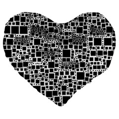 Block On Block, B&w Large 19  Premium Flano Heart Shape Cushions by MoreColorsinLife