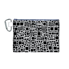 Block On Block, B&w Canvas Cosmetic Bag (m) by MoreColorsinLife