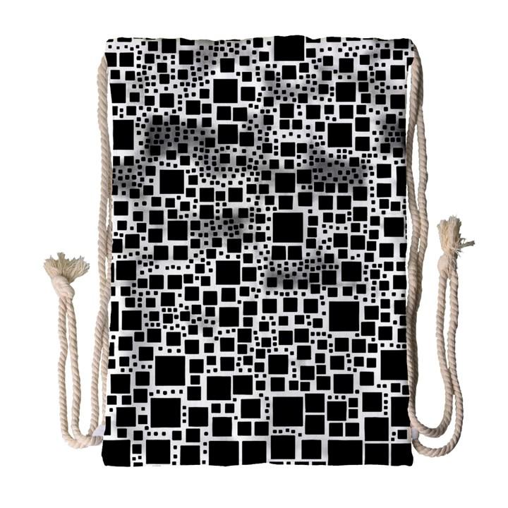 Block On Block, B&w Drawstring Bag (Large)