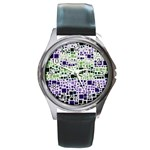 Block On Block, Purple Round Metal Watch Front