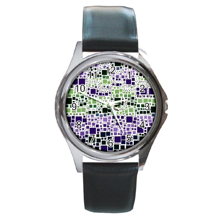 Block On Block, Purple Round Metal Watch