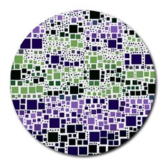 Block On Block, Purple Round Mousepads by MoreColorsinLife