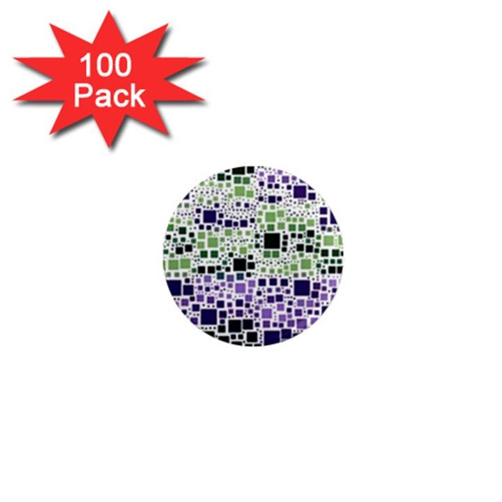 Block On Block, Purple 1  Mini Magnets (100 pack)