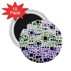 Block On Block, Purple 2 25  Magnets (10 Pack)  by MoreColorsinLife