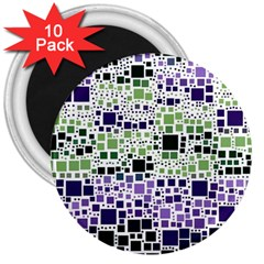 Block On Block, Purple 3  Magnets (10 Pack)  by MoreColorsinLife