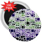 Block On Block, Purple 3  Magnets (100 pack) Front