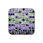 Block On Block, Purple Rubber Coaster (Square)  Front