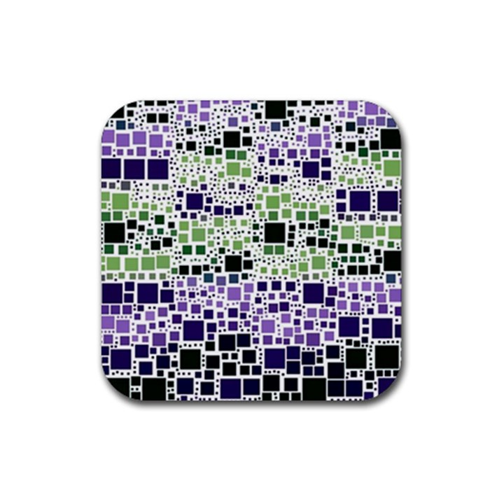 Block On Block, Purple Rubber Square Coaster (4 pack)