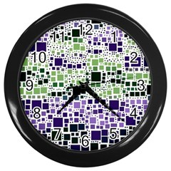 Block On Block, Purple Wall Clocks (black) by MoreColorsinLife