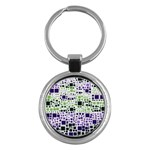 Block On Block, Purple Key Chains (Round)  Front