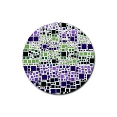 Block On Block, Purple Rubber Coaster (round)  by MoreColorsinLife