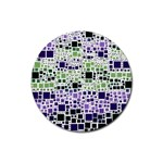Block On Block, Purple Rubber Coaster (Round)
