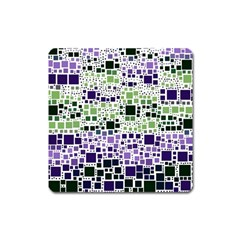 Block On Block, Purple Square Magnet by MoreColorsinLife
