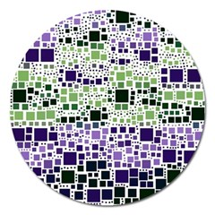 Block On Block, Purple Magnet 5  (round) by MoreColorsinLife