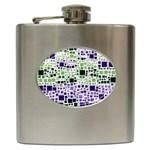 Block On Block, Purple Hip Flask (6 oz) Front