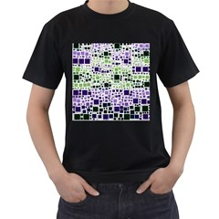 Block On Block, Purple Men s T Shirt (black) (two Sided) by MoreColorsinLife