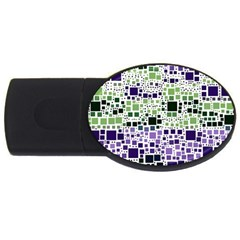 Block On Block, Purple Usb Flash Drive Oval (4 Gb)  by MoreColorsinLife