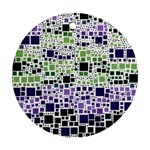 Block On Block, Purple Round Ornament (Two Sides)  Back