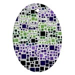 Block On Block, Purple Oval Ornament (Two Sides) Front