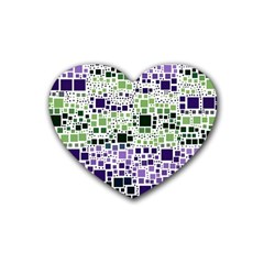 Block On Block, Purple Rubber Coaster (heart)  by MoreColorsinLife